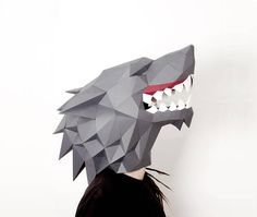 Direwolf paper mask Beast mask Wolf mask Halloween mask PDF pattern Printable low poly template Lowpoly mask Stark Wolf Game of Trones