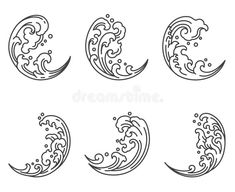 Illustration about Oriental water wave in half moon shape icon. A tradional style of Japanese, Thai, Chinese line art. Illustration of japanese, china, advertising - 142535696 Japanese Waves, Japanese Logo, Japanese Design, Japanese Art, Japanese Sleeve, Japanese Cloud Tattoo, Japanese China, Hawaiianisches Tattoo, Tattoo Mond