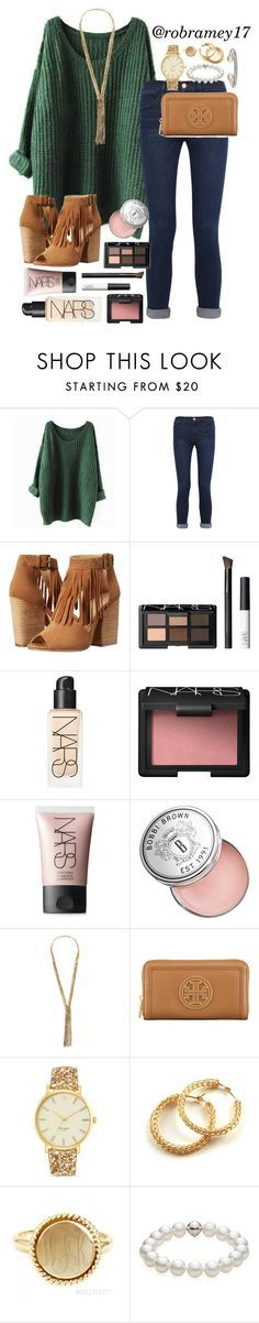 """""""Tell me would you really cry for me? Baby don't lie to me... If I didn't have anything, I wanna know would you stick around?"""" by robramey17 ❤️ liked on Polyvore featuring Frame Denim, Chinese Laundry, NARS Cosmetics, Bobbi Brown Cosmetics, CATHs, Tory Burch, Kate Spade, TARA Pearls and David Yurman"""