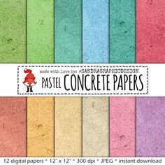 """Digital paper: """"CONCRETE PASTEL"""" with digital papers with concrete textures in pastel colors (424)"""