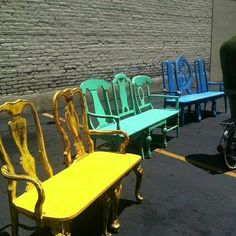 Create adorable benches from old dining chairs!