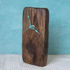 RESERVED for Anastasia Driftwood Clock Turquoise by blackeyedsusan
