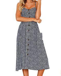 e9b415097b8 Women s Dresses Summer Floral Bohemian Spaghetti Strap Button Down Swing  Midi Dress with Pockets