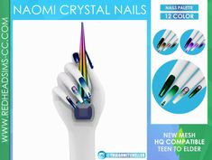Sims 4 Nails, Cc Nails, Sims 4 Piercings, The Sims 4 Skin, Cheap Games, The Sims 4 Download, Instagram Nails, Sims 4 Cc Finds, Crystal Nails