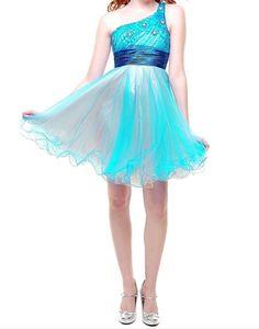 One shoulder blue homecoming dress