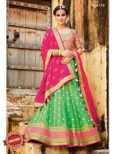 Buy Pink & Green Silk Jacquard Lehenga Choli Online