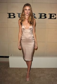 Rosie-Huntington Whiteley wore a champagne silk cocktail dress for the Burberry Body Launch by Burberry Prorsum