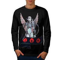 Angelic Lady Warrior Men NEW L Long Sleeve Tshirt  Wellcoda ** Find out more about the great product at the image link.