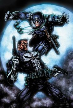 The Punisher vs Bullseye (Marvel) Marvel Comic Books, Comic Book Characters, Comic Book Heroes, Marvel Characters, Comic Character, Comic Books Art, Comic Art, Book Art, Punisher Marvel