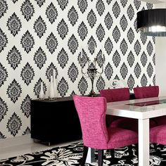 Dimensional Damask Wallpaper from Patton Wallcoverings Shades Wallpaper Book. Floral. Pattern. Contemporary. #Wallcoverings #Homedecor #SmallBusiness #DIY Creative Wall Decor, Discount Wallpaper, Bathroom Interior Design, Bedroom Makeover, White Damask, Mural Wallpaper, Damask Wallpaper, Pink Chair, Wall Coverings