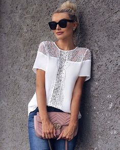 Ideas for dress lace black shirts Blouse Styles, Blouse Designs, Sewing Clothes, Diy Clothes, Elegant Style Women, Casual Dresses, Fashion Dresses, Iranian Women Fashion, Knit Fashion