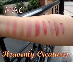 mac heavenly creatures lipstick and lipglasses swatched in one place