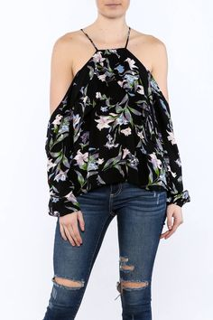 Black long sleeve top with cold-shoulder cut-out and floral print detail.   Floral Cold-Shoulder Top by Pink Penguin. Clothing - Tops - Long Sleeve Clothing - Tops - Casual West Village, Manhattan, New York City