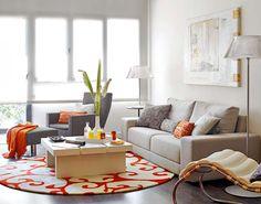 Detalles de un loft renovado y decorado en color naranja...