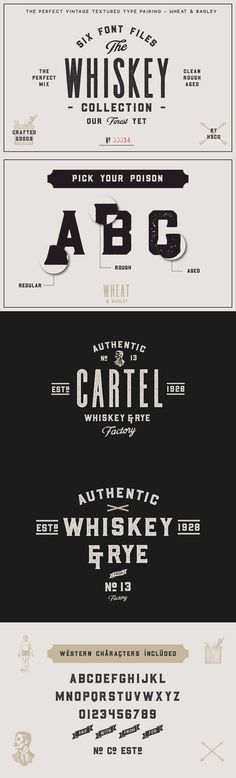 """The Whiskey Font Collection - The Whiskey Font Collection is a type pairing of """"Wheat"""" & """"Barley"""". These two typefaces were literally made for eachother. They work together to give you that perfect vintage label you've been designing. These are perfect for Logos, Advertising, Apparel Design, Labels, Signage, Etc.  The 2 Typefaces come in 3 different styles; Regular, Rough, Aged (Distressed Letterpress Look). Wheat & Barley come with Western European characters. Barley also has a few added…"""