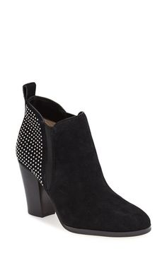 Free shipping and returns on MICHAEL Michael Kors 'Krista' Bootie (Women) at Nordstrom.com. Micro-studs dots the shaft of an almond-toe bootie set on a chunky stacked heel. Dual elastic gores ensure easy, slip-on wear while perfecting the sleek look.
