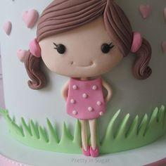 Cake Decorating Amazing, Cake Decorating Kits, Cake Decorating Techniques, Fondant Cake Designs, Fondant Cake Toppers, Fondant Cakes, 1st Birthday Cake For Girls, Baby Birthday Cakes, Fondant Girl