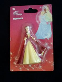 Disney Princess Mini Figurine Belle Yellow Red Dress Cake Topper Figure 2.75 in