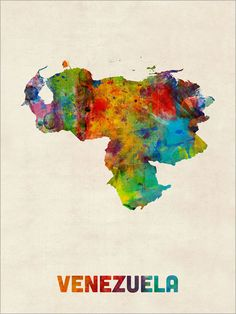 A watercolor map of Venezuela on a vintage background, art print    Frame/Matte is not included.  Available sizes are shown in the SELECT A SIZE drop down menu above the ADD TO CART button.    This print is on superior quality semi-matte 240gsm paper. The specially coated surface enhances the color depth and contrast of the the Ultrachrome inks, which guarantee a lifetime of fade resistance.    Please note that actual colors may vary slightly due to monitor settings.    For BOX CANVAS an...