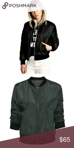 ⭐NEW! 2016 Must Have Sexy Bomber Jackets Bomber jackets are the hottest trend right now!  Black & Hunter Green Available!  MA1 Bomber Jacket  Lightweight  Pockets/Zip Up Front Side Zip Beautiful Quality Fabric  Poly/Cotton Blend Dry Clean For Best Results  Fits Size Small/Medium Juniors   NWOT Directly From Vendor   ▪ Price is Firm  ▪ No Trades  ▪ Fast Shipping Moda Ragazza  Jackets & Coats Puffers