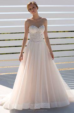 Νυφικό Donna Salado Zarah Princess Ball Gowns, Layered Skirt, Nude Color, Peach Colors, Bodice, Tulle, Bridal, Wedding Dresses, Image