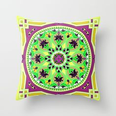 Boho Floral Crest Yellow Throw Pillow