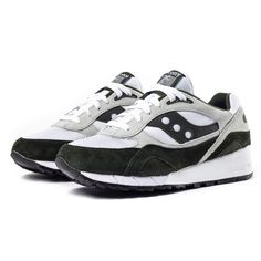 """White & Green Shadow 6000 Sneakers by Saucony. Part of the """"Running Man"""" pack, shown here in white and green, are limited edition and new in this season. This premium version of the iconic Shadow 6000 features a mixed fabricated upper- suede panels overlay a mesh base with bold accents built on top of a white rubber midsole and black outsole. http://www.zocko.com/z/JG09C"""