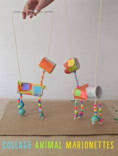 Collage Animal Marionettes : Children make marionettes from TP rolls , tissue paper, and painted beads. Children make marionettes from TP rolls , tissue paper, and painted beads. Kids Crafts, Summer Crafts, Summer Art Projects, Stem Projects, Kid Projects, Beach Crafts, Crafty Kids, Camping Crafts, Creative Kids