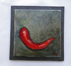 Red chili on gray background. Miniature original, oil painting, on canvas-board. Hand-painted by artist Ilse Hviid, mini veggie painting