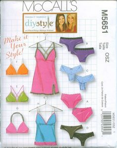 Sewing Pattern Panties, Panty Thong, Bras and Camisole McCalls 5651 Sizes XS-S-M-L. $4.00, via Etsy.