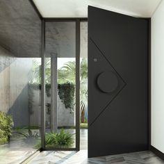 Zen Iron Hinge Door – Zen Doors Main Door Design, Front Door Design, Modern Entrance Door, Glass Entry Doors, Contemporary Front Doors, Wrought Iron Doors, Pivot Doors, Modern Exterior, Types Of Doors