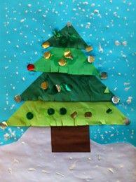 * Kerstboom: Vouwen, knippen, plakken, versieren! 4 driehoeken van groot naar klein!
