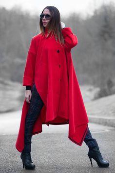 Trendy coat Red Cashmere Women Coat Winter Coat