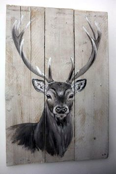 This site contains information about deer painting on wood. Wood Pallet Art, Pallet Painting, Painting On Wood, Wood Art, Animal Paintings, Animal Drawings, Art Drawings, Hirsch Illustration, Deer Art