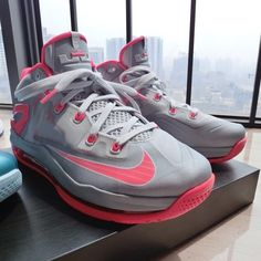 fc65a8de6ae0 Nike LeBron 11 Low - Light Base Grey - Laser Crimson