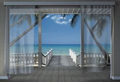 Wall Mural Photo Wallpaper Holiday Blue Ocean View Through The Window Home Decor for sale online Images Murales, Foto 3d, Deco Zen, Beach Mural, Episode Backgrounds, Deco Originale, 3d Home, Photo Wallpaper, View Wallpaper