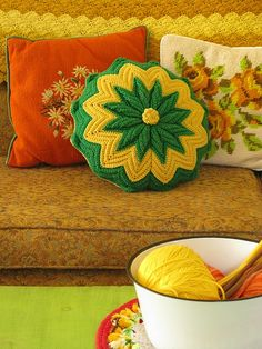 crochet pillows - luv this idea of needlepoint and crochet cushions mixed together. all in my living rooms colours. Crochet Pillows, Estilo Kitsch, Home Decoracion, Granny Chic, Manta Crochet, Vintage Pillows, Crochet Home, Vintage Crochet, Soft Furnishings