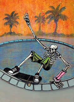 Going for Broke is a painting made based on my experiences skateboarding. I chose to represent a skeleton skateboarding because it amplifies the vulnerability of our bodies. Bedroom Wall Collage, Photo Wall Collage, Picture Wall, Collage Art, Skateboard Design, Skateboard Art, Painted Skateboard, Skate Logo, Vans Skate
