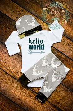 Hi there! Welcome to Gigi and Max! This handmade outfit is beyond perfect for any sweet baby on the way. Pants and hat are made out of a super soft stretchy organic knit. The onesie is professionally