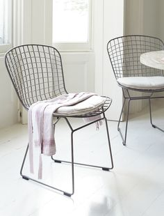 Loaf's industrial metal wire-ware Hamburger chair with linen seat pads