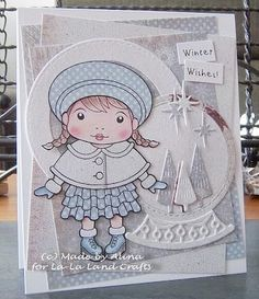 From our Design Team! Card by Alina Meijer-Petrescu featuring Winter Wishes Marci and these Dies - Stitched Nested Circles (set of 7), Snowglobe (set of 7) :-) Shop for our products here - shop.lalalandcrafts.com  Coloring details and more Design Team inspiration here - http://lalalandcrafts.blogspot.ie/2016/01/inspirations-friday-winter-blues.html