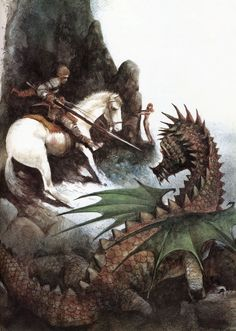 St. George and the Dragon in watercolor