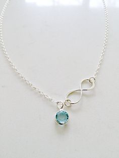 Aquamarine Necklace,Sideways Infinity Necklace,Personalized Necklace,925 sterling silver,Swarovski Birthstone,March,Infinity Jewelry,Gift by LetItBeLove on Etsy