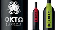 """""""OKTO: A set a labels for Lyrarakis Wine out of Crete Greece - An area famous for it's seafood and strong greek mythological presence the winery wanted modern yet classic iconography."""""""