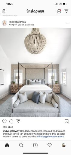 Best Q, Four Poster Bed, Statement Wall, Beaded Chandelier, Newport Beach, Bed Frame, Master Bedroom, Couch, Flooring
