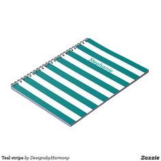 Teal stripe spiral notebook
