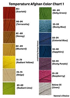 Vanna's Choice colors I charted for use on my temperature crochet blankets. However, I changed my mind on these as some colors were too intense.