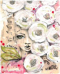 emerge - mixed media girl with shabby old vintage white flowers and tiny green leaf wings! acrylic, pencil sketch, sheet music and paper scraps.