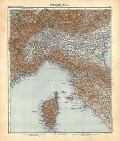1911 Northern Italy Antique  Map 100 Years Old by CarambasVintage, $25.00