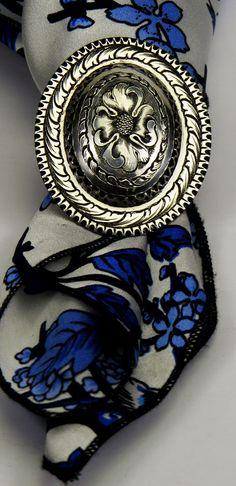 Scarf Slide, wild rag, concho, handmade, silver, Jeremiah Watt, maker, engraved